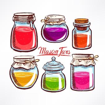 Handgetekende metselaarpotten met kleurrijke inhoud