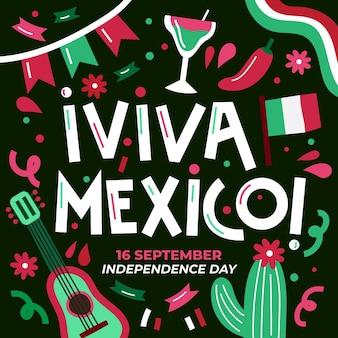 Handgetekende mexico onafhankelijkheidsdag concept