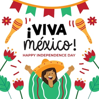 Handgetekende mexico-onafhankelijkheidsdag ontwerp