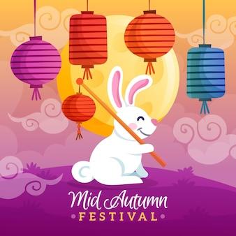 Handgetekende mid-herfst festivalontwerp