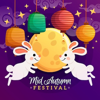Handgetekende mid-herfst festivalthema