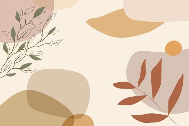 Handgetekende minimale achtergrond met bladeren