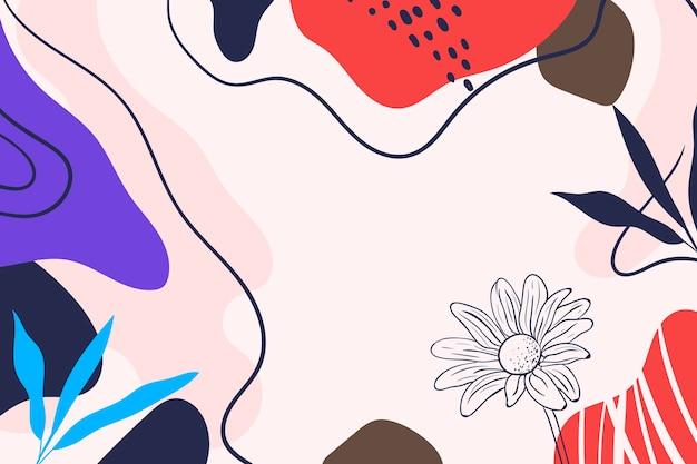 Handgetekende minimale bloemachtergrond