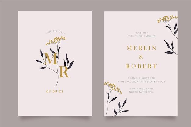 Handgetekende minimale sjabloon voor huwelijksuitnodiging