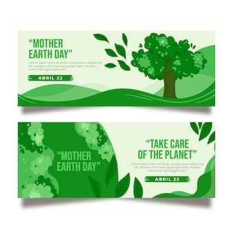 Handgetekende moeder aarde banner