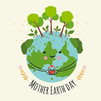 Handgetekende moeder aarde concept