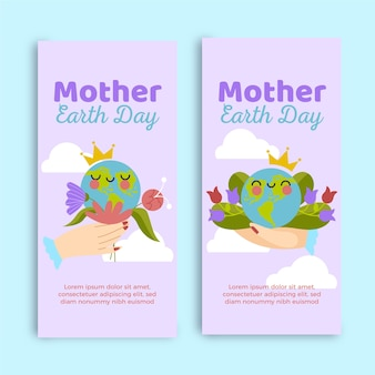 Handgetekende moeder aarde dag banner collectie
