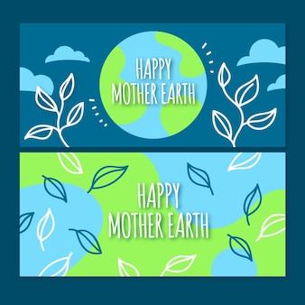 Handgetekende moeder aarde dag banner concept