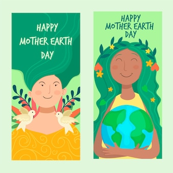 Handgetekende moeder aarde dag banner