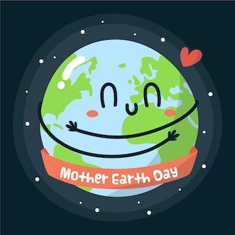 Handgetekende moeder aarde dag evenemententhema