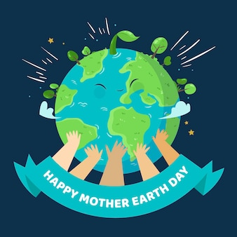 Handgetekende moeder aarde dag thema