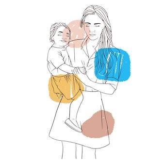 Handgetekende moeder die haar kind vasthoudt voor moederdaglijnkunststijl a