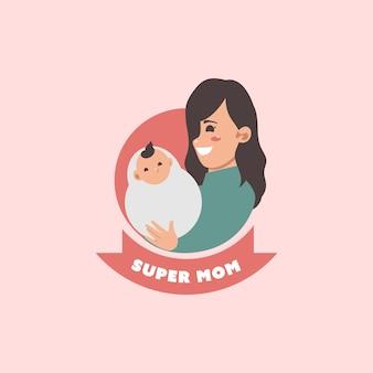 Handgetekende moederdaglabels met zwanger karakter