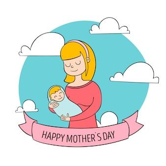Handgetekende moeders dag illustratie concept