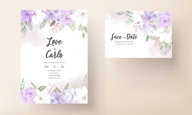 Handgetekende mooie paarse bloemen bruiloft uitnodiging sjabloon Premium Vector