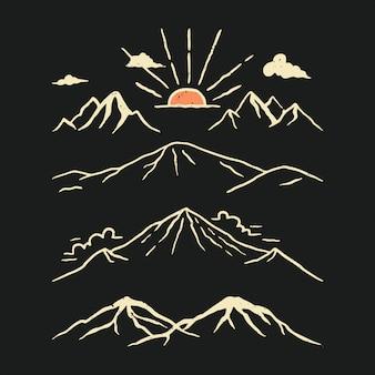 Handgetekende mountain pack illustratie