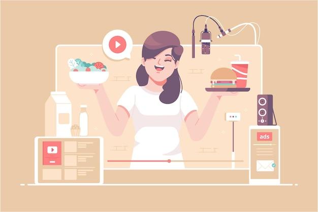 Handgetekende mukbang betekent eten uitgezonden concept afbeelding achtergrond