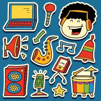 Handgetekende muziek doodle cartoon sticker ontwerp