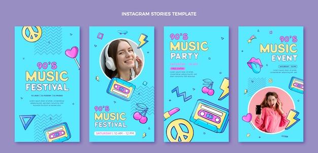 Handgetekende muziekfestival instagramverhalen