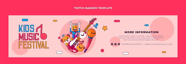 Handgetekende muziekfestival twitch banner