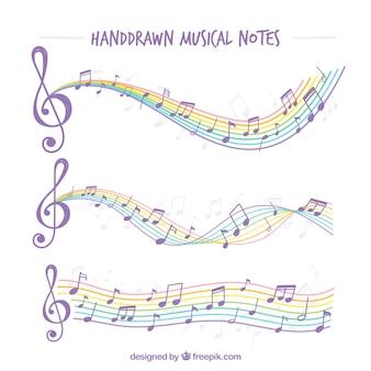 Handgetekende muzieknoten met kleurrijke notenbalken