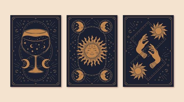Handgetekende mystieke tarotkaartverzameling