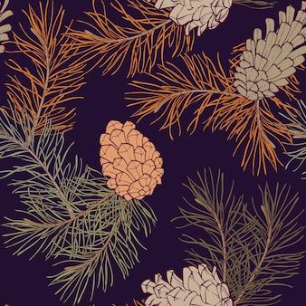 Handgetekende naadloze patroon met denneappels en takken van naaldhout groenblijvende boom