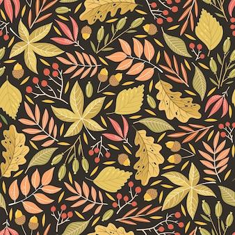 Handgetekende naadloze patroon met herfstbladeren. kleurrijke seizoensgebonden illustratie voor papier en cadeaupapier. stof print ontwerp. creatieve stijlvolle achtergrond.