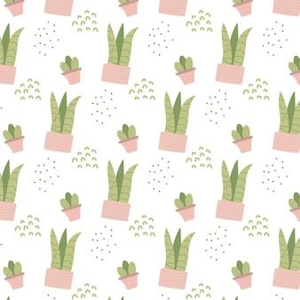 Handgetekende naadloze patroon met kamerplanten in roze potten patten met kamerplanten