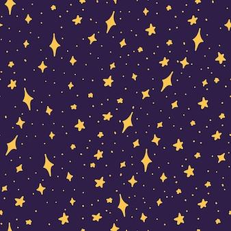 Handgetekende naadloze patroon met magische sterren