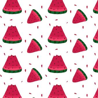 Handgetekende naadloze patroon met plakjes watermeloen sappig watermeloenpatroon