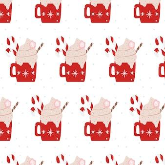 Handgetekende naadloze patroon met warme drank mok
