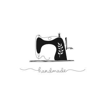 Handgetekende naaimachine, vintage, handwerk, naaister, handgemaakt. zwart-wit afbeelding in cartoon stijl.