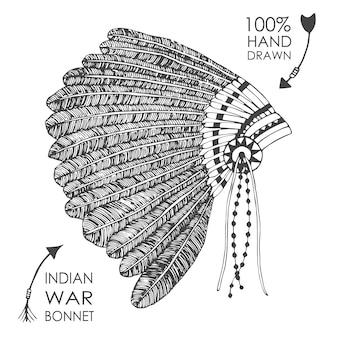 Handgetekende native american indian chief hoofdtooi met veren. schetsstijl. tribale vectorillustratie.