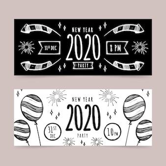 Handgetekende nieuwe jaar feest banners