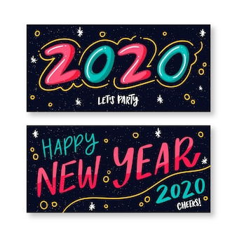 Handgetekende nieuwjaarspartijbanners