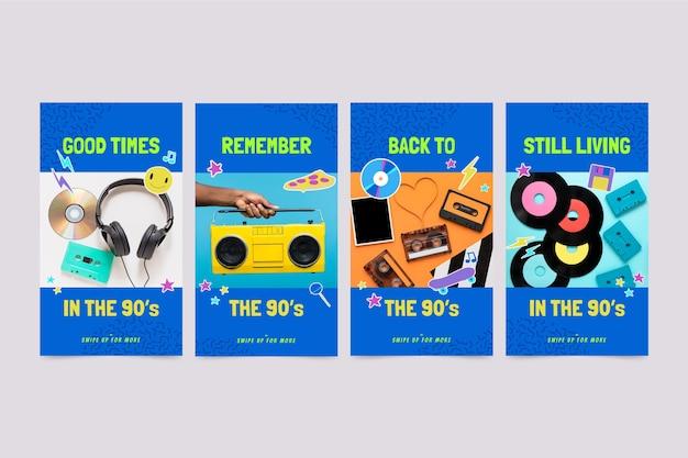 Handgetekende nostalgische instagramverhalencollectie uit de jaren 90