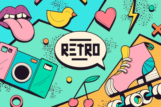 Handgetekende nostalgische jaren 90 achtergrond