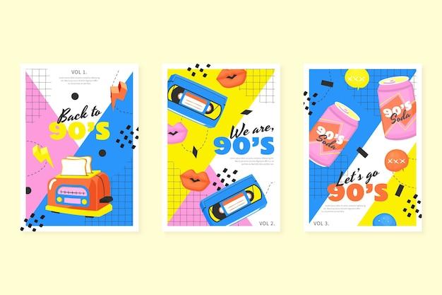Handgetekende nostalgische jaren 90 covers