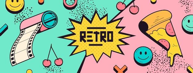 Handgetekende nostalgische jaren 90 facebook cover