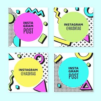 Handgetekende nostalgische jaren 90 instagram posts collectie