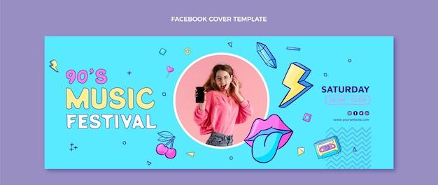 Handgetekende nostalgische muziekfestival facebook cover