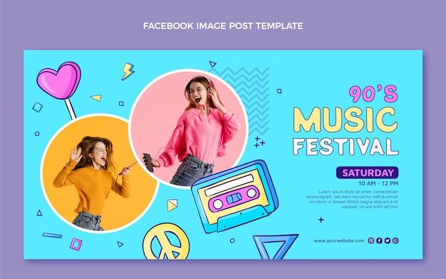 Handgetekende nostalgische muziekfestival facebook post