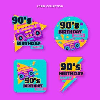 Handgetekende nostalgische verjaardagslabels uit de jaren 90