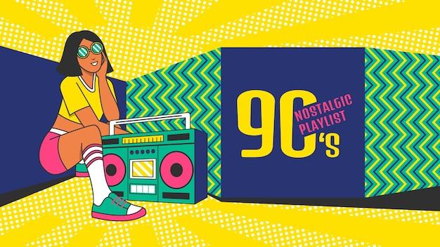 Handgetekende nostalgische youtube-kanaalafbeeldingen uit de jaren 90