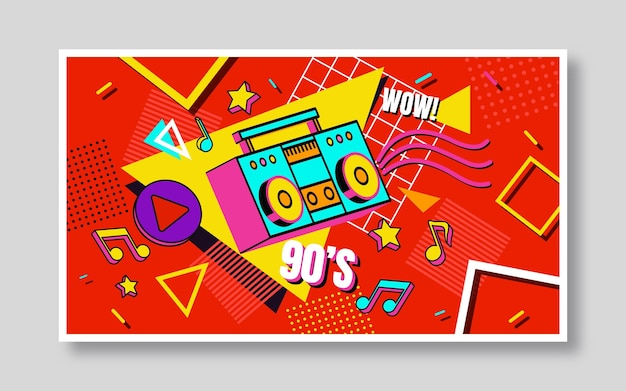 Handgetekende nostalgische youtube-thumbnail uit de jaren 90