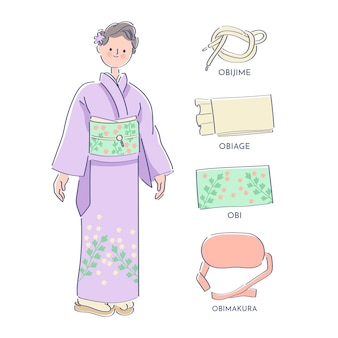 Handgetekende obi band element pack