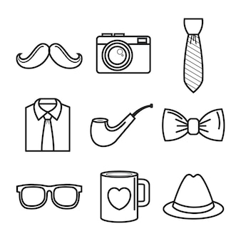 Handgetekende objecten voor mannen set