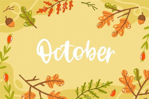 Handgetekende oktober achtergrond met planten