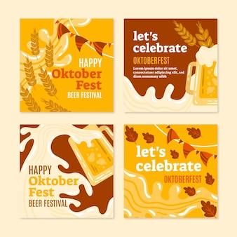 Handgetekende oktoberfest instagram posts collectie
